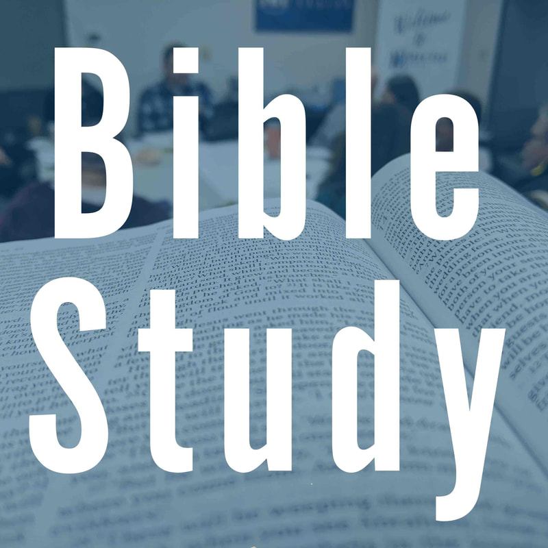 Bible Study Link Button and picture of Bible and Bible Study Group